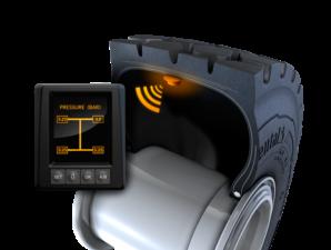 Systém ContiPressureCheck pomocí snímačů nepřetržitě měří tlak a teplotu v pneumatice. Společnost Continental dodává všechny pláště ContiEarth s předinstalovaným snímačem na sledování tlaku a teploty / Foto zdroj: Continental AG